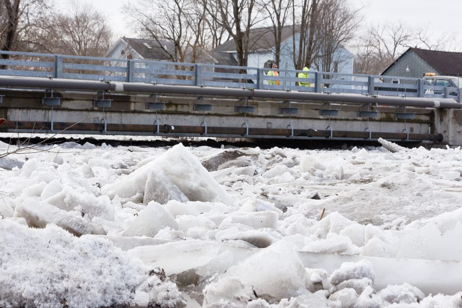 Ice on the Kayaderosseras Creek in Ballston Spa gathers earlier this month following a cold snap.