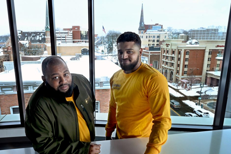 Urban Co-works, 433 State St. left to right, Earl Page and Deshaun Kunath, founders of the WolfPack Wealth Group.