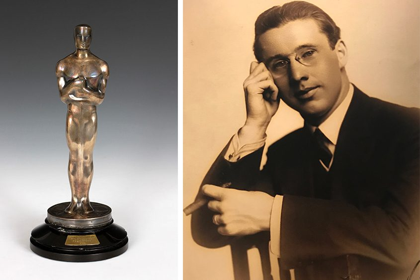 "Edwin J. Burke and the Oscar that he won for ""Bad Girl."""