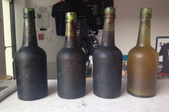 These four bottles of circa-1886 beer were recovered from the wreck of the SS Oregon off Long Island.