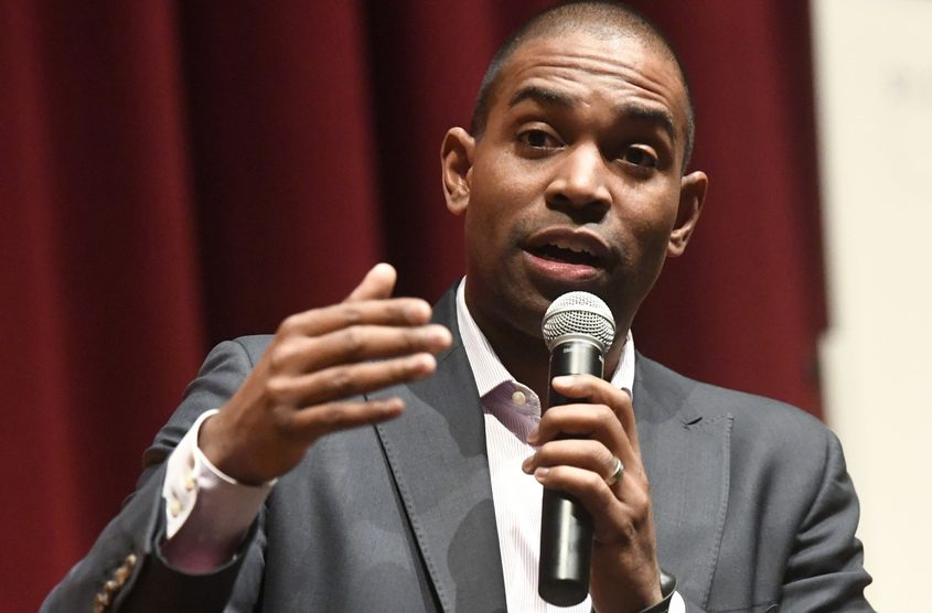 U.S Rep. Antonio Delgado speaks at a town hall meeting at Canajoharie High School on Wednesday.