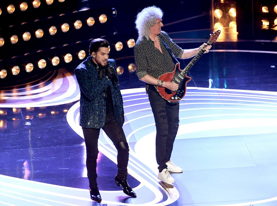 From left, Adam Lambert and Brian May of Queen perform onstage during the 91st Annual Academy Awards at Dolby Theatre on Sunday.
