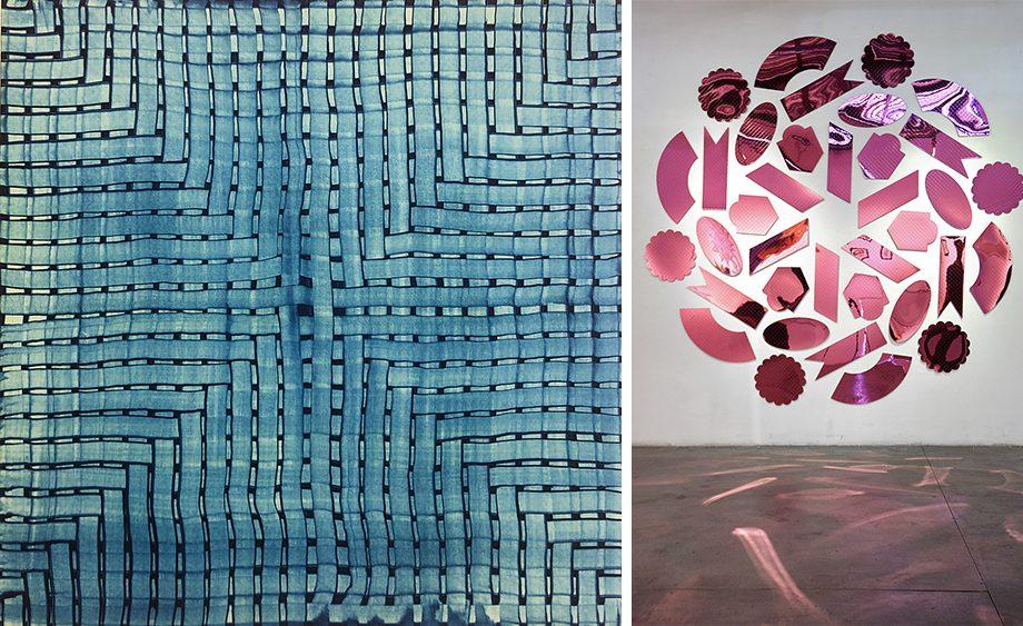"Karin Schaefer, ""Intersectional #2,"" left, and Dragonfruit, Amelia Toelke, right."