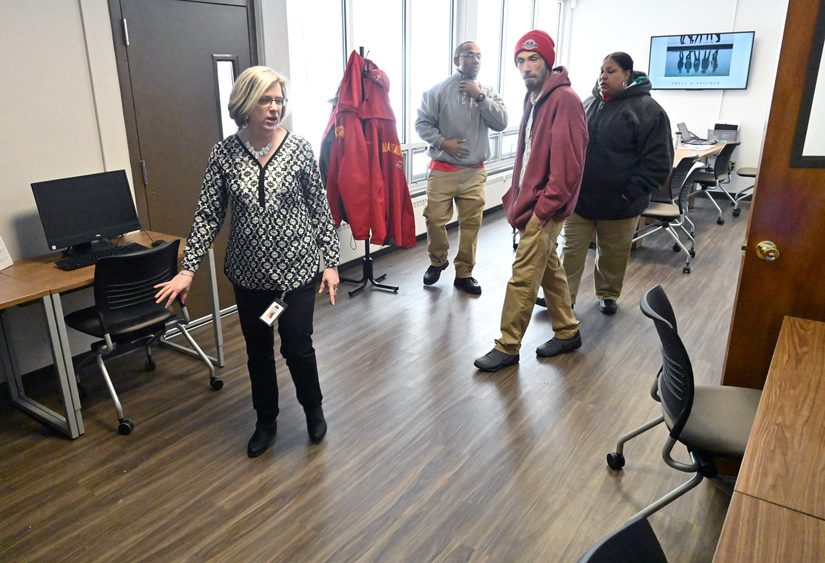 Michelle Kraines a tour of the Career Training Center room in the new Schenectady Works facility.