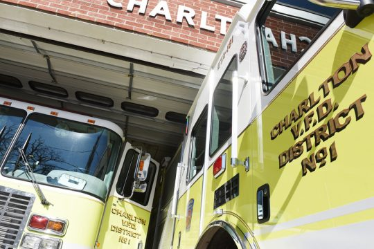It's a tight fit for engines and firefighters at their station on Charlton Road at Charlton Volunteer Fire Department.