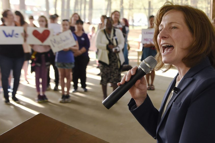 Michelle Ostrelich announces her candidacy for state Senate last May.
