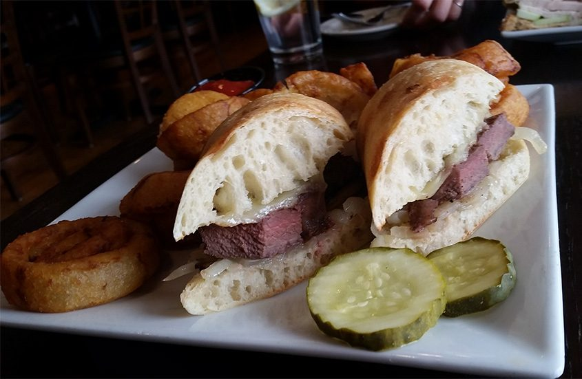 The Kilkenny bookmaker steak sandwich, with sirloin topped with sautéed mushrooms and onions and aioli.