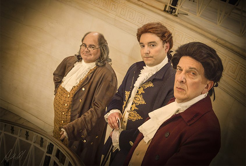 From left, Joe Phillips as Benjamin Fanklin, Nick Foster as Thomas Jefferson and Gary Hoffman as John Adams.