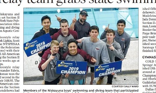 Members of the Niskayuna boys' swimming and diving team