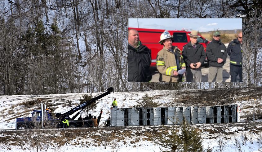 The overturned semi seen Sunday afternoon; Scott Johnson first assistant chief for Central Bridge speaks at a briefing