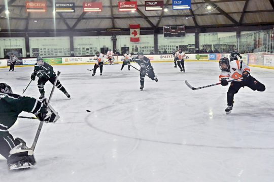 Bethlehem junior Mike Bievenue scored one of his three goals 22 seconds into the Section II hockey final.