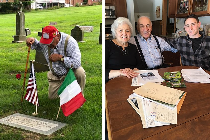 Tony Serafini kneels at his grandfather's grave in Pennsylvania. Right, Tony with wife Annette and grandson Gianluca.