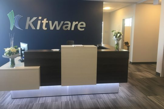 The new reception area at the Kitware headquarters in Clifton Park is pictured.