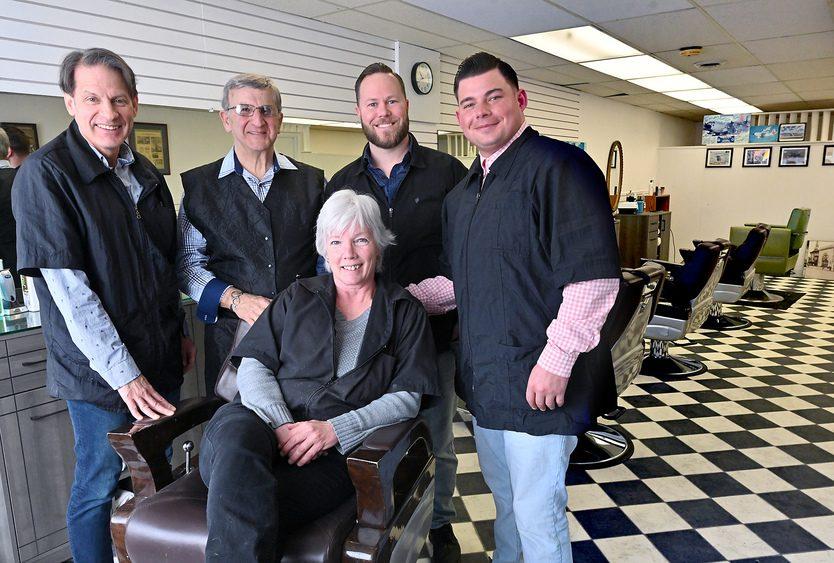 Wedgeway barbers, from left: Jess Petrequin, Richard DiCristofaro, Shaun McDonald, Tom Rorick. Seated is owner Dawn Taylor.