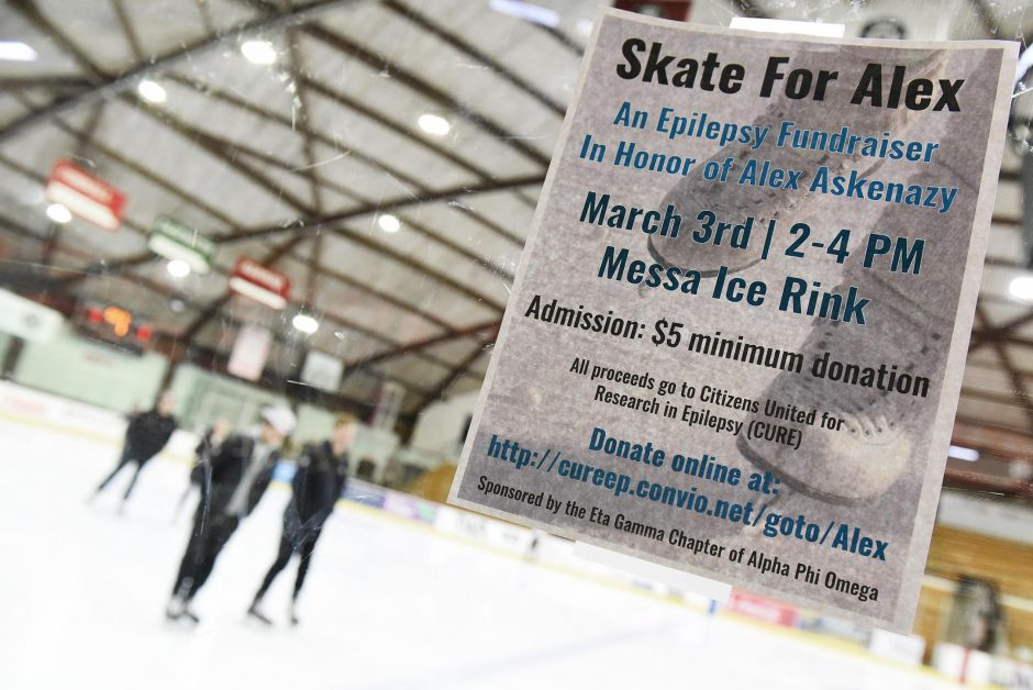 Students skate at Messa Rink, Union College, in Schenectady, as part of a fundraiser for epilepsy research.