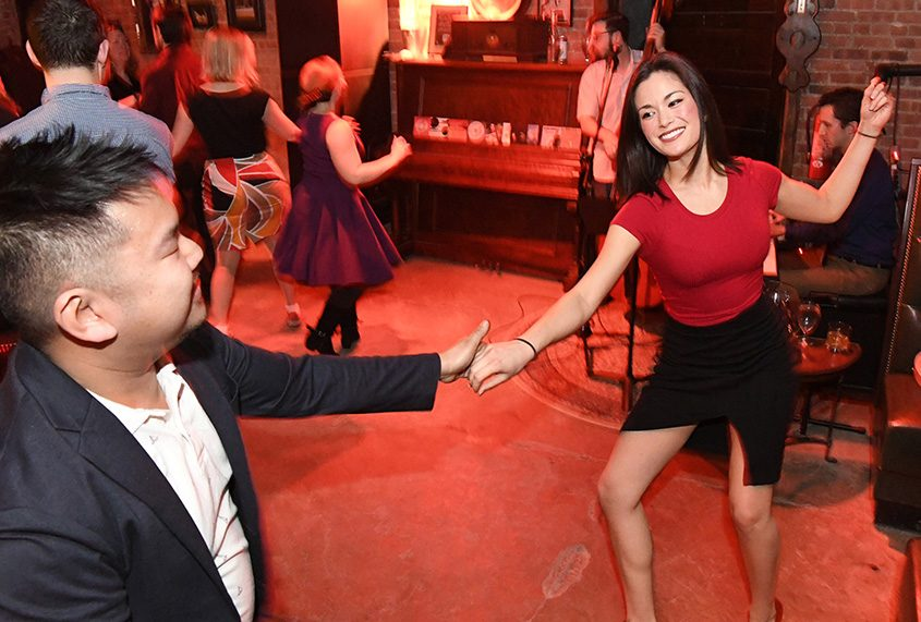 Xara Wilde of Albany dances with Vance Catapang of Troy at Swing Night at Speakeasy 518 on Howard Street in Albany.