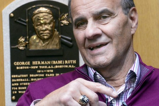 Former New York Yankees manager Joe Torre, talks at the National Baseball Hall of Fame in Cooperstown in 2014.