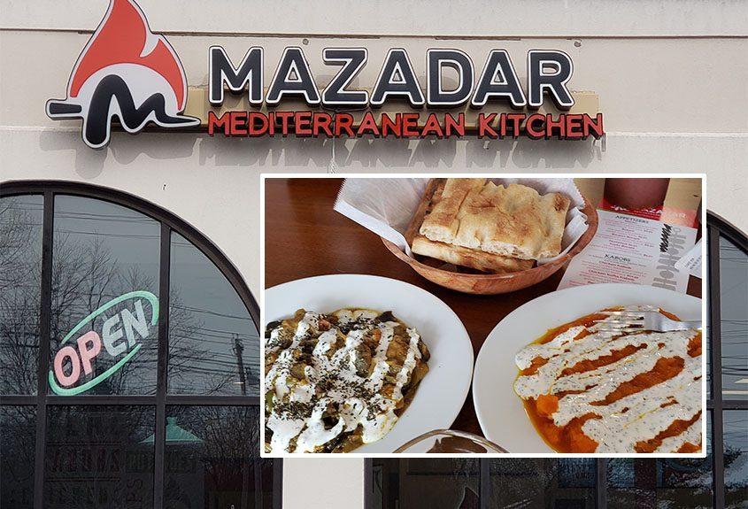Clockwise from top: Naan, kaduna borani and banjan borani at Mazadar Mediterranean Kitchen.
