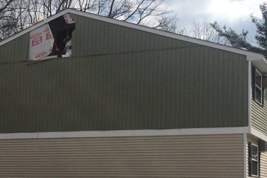 Visible damage at the Twin Lakes Apartments Monday