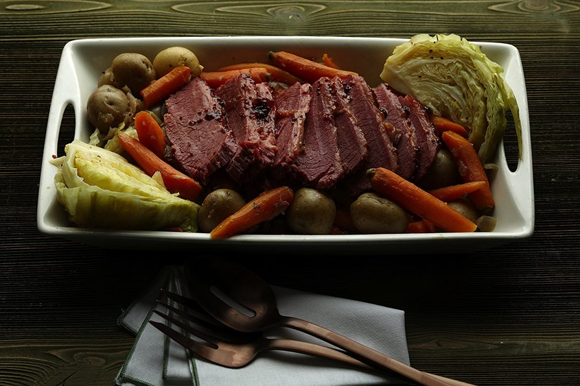The meat, carrots and potatoes and then the cabbage are staged in three cooking periods.