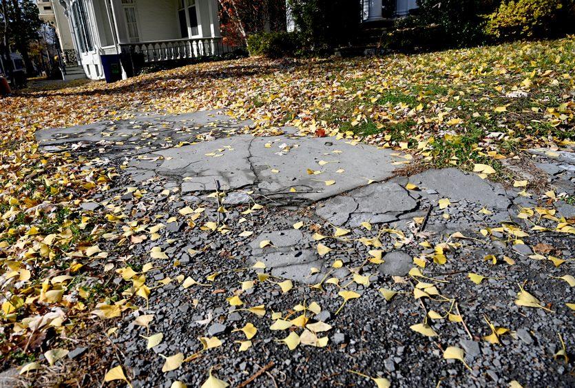 Broken sidewalks on Front Street in the Stockade are pictured in November.
