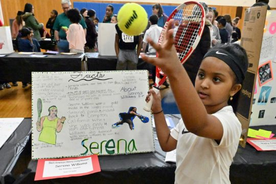 Kelsey Jawhir portrays Serena Williams at St. Kateri Tekakwitha School