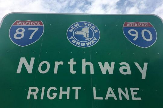 A sign for the Northway in Albany.