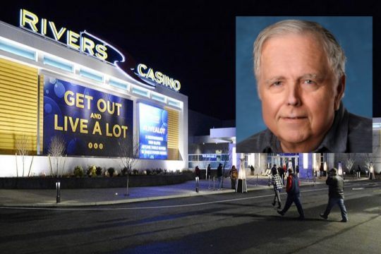 Recently departed Rivers Casino general manager Rob Long (inset); Rivers Casino & Resort (background).