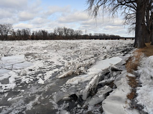 Smaller chunks of ice build up in the Mohawk River by Schenectady's historic Stockade Neighborhood on Feb. 10.