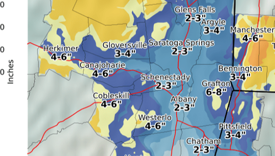 Expected snowfall totals through Saturday afternoon