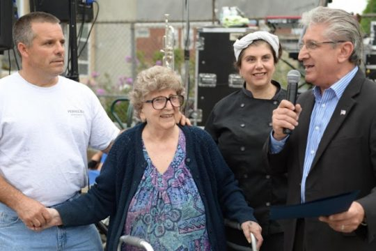 Lilia Perreca Papa in 2014 with her children, Tony and Maria, and then-Assemblyman James Tedisco.