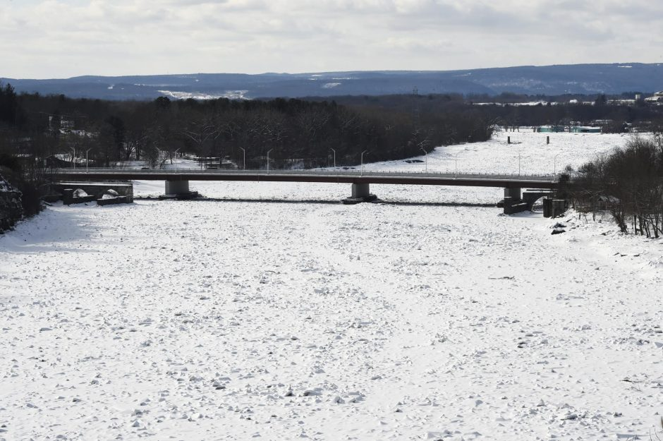 An ice-jammed Mohawk River as seen from Rexford looking toward the Rexford Bridge, Feb. 7, 2018.