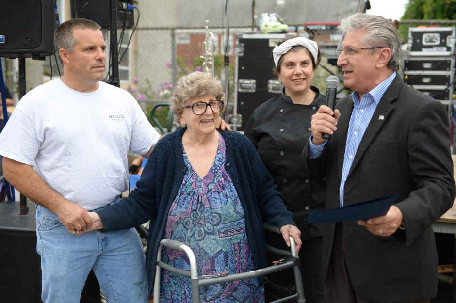 Lillian Perreca Papa in 2014 with her children, Tony and Maria, and then-Assemblyman James Tedisco.