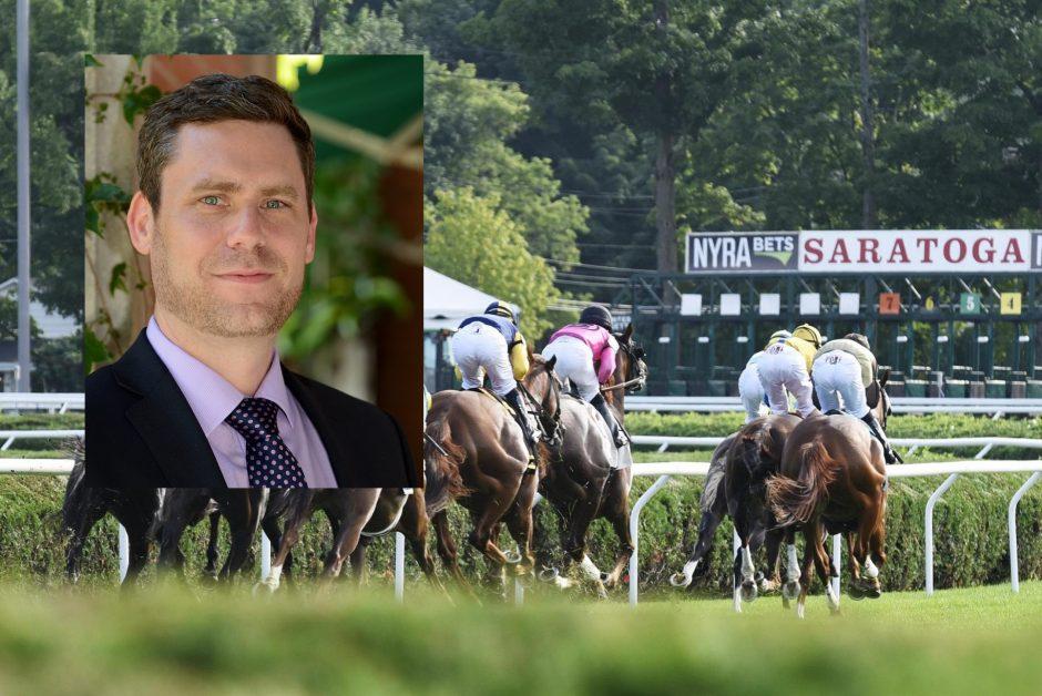 David O'Rourke, inset; Horses at Saratoga last year, background