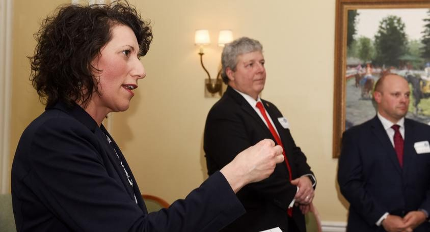 Saratoga school board candidate Connie Woytowich speaks during a fundraiser by Saratoga Parents for Safer Schools on Feb. 28.