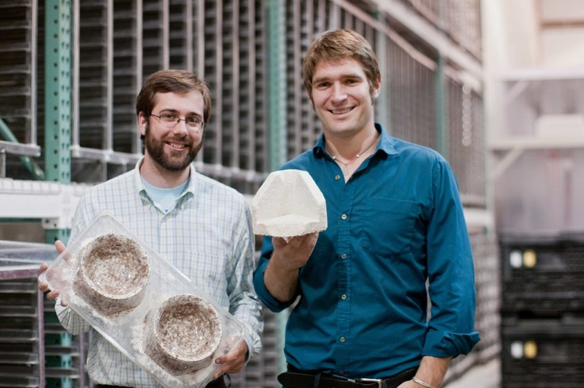 Ecovative Design co-founders Gavin McIntyre, left, and Eben Bayer are shown in this undated company photo.