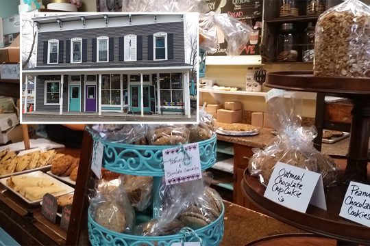 Tempting baked goods for sale add to the Leah's Cakery's (inset) homey feel.