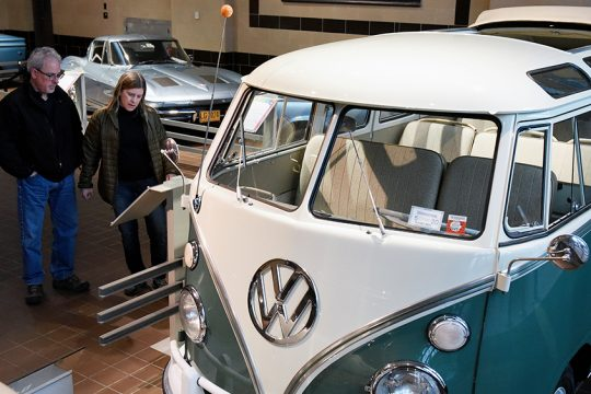 Jim Molinare and his wife, Kathleen Mantaro, of Poughkeepsie, look at a 1966 Volkswagen Microbus on display at the museum.