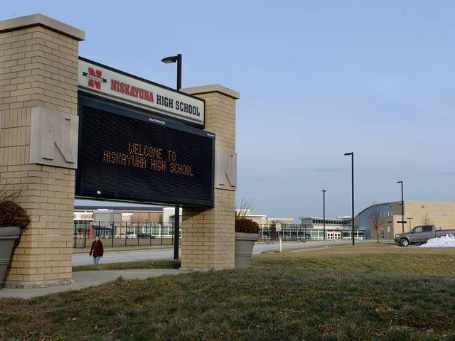 The sign outside Niskayuna High School is shown.
