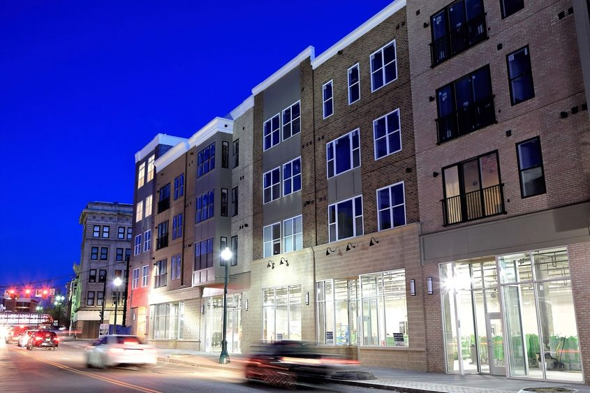 The new Electric City Apartments is shown in downtown Schenectady at dusk on Thursday.