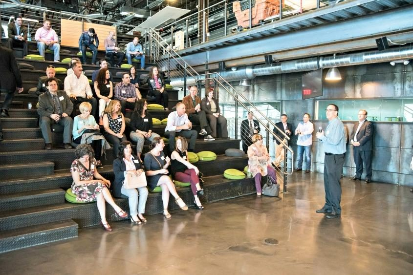 Urban Co-Works CEO Jeff Goronkin speaks in April 2017 during an event at the co-working facility in downtown Schenectady.