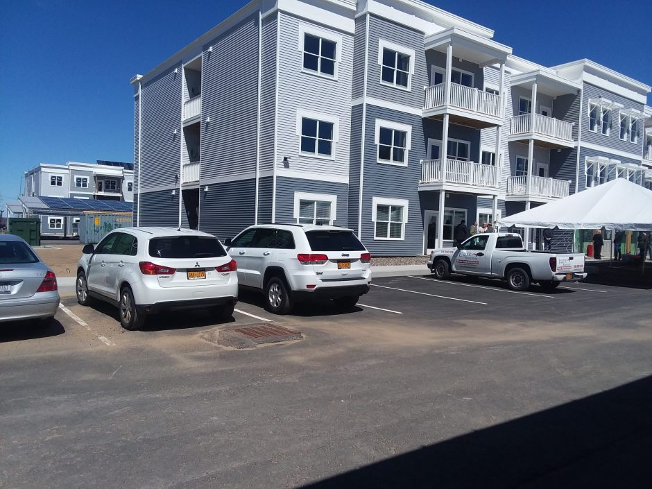 The first building in the Solara near-zero apartment complex is complete.