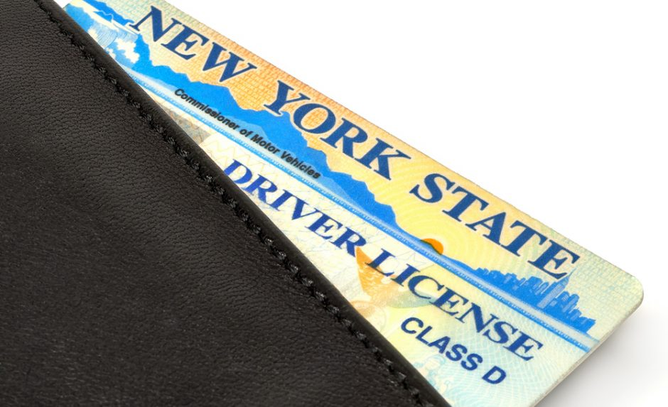 New York State driver license in wallet.