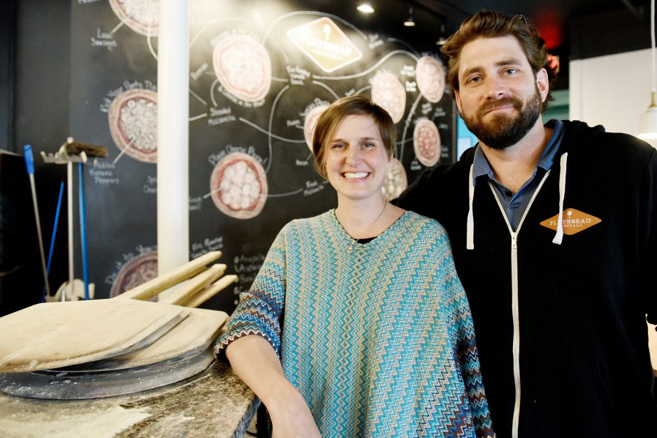 Owners Ryan and Sonja McFadden inside their restaurant Flatbread Social on Henry Street in Saratoga Springs, April 18, 2019.
