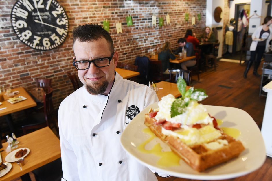 Executive Chef Frank Daluisio holds a Lemon Berry Waffle at Iron Roost in Ballston Spa on Front Street, April 11, 2019.