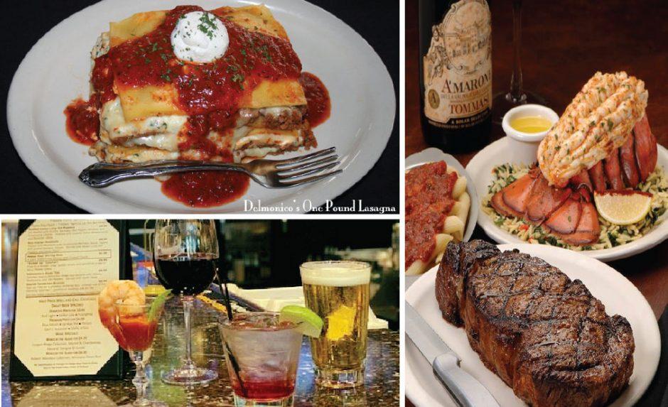 Menu offerings from Delmonico's Italian Steakhouse.