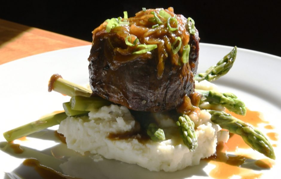 8 oz. filet mignon with mashed potatoes and asparagus at The Table Restaurant in Fort Plain Wednesday, April 17, 2019.
