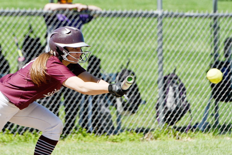 Burnt Hills-Ballston Lake's Lexi Puliafico attempts a bunt in Thursday's Suburban Council softball game against Troy.