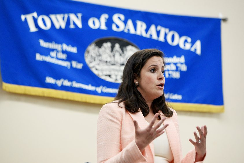 U.S. Rep. Elise Stefanik holds a town hall meeting with constituents in Schuylerville on Friday.