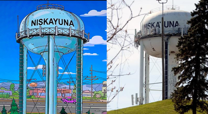 'The Simpsons' Niskayuna water tower and the real thing Monday